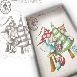 PD7950 Polkadoodles Gnome Decorating The Tree Clear Stamp
