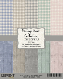 RPP046 Reprint Checkers Vintage Basic Collection 6x6 Inch Paper Pack