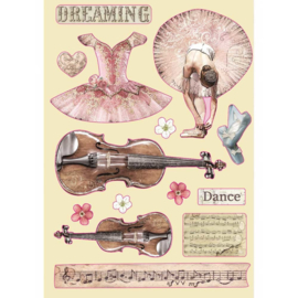 KLSP099 Stamperia Wooden Shapes A5 Passion Violin and Dance