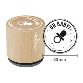 WE6004 Woodies Oh Baby Rubber Stamp