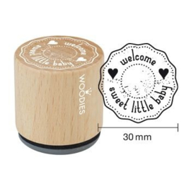 WE6005 Woodies Welcome sweet little baby Rubber Stamp