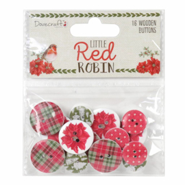 DCWDN065X18 Dovecraft Little Red Robin Wooden Buttons