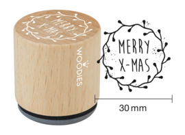 WE7009 Woodies Merry X-Mas Rubber Stamp