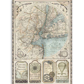 DFSA4515 Stamperia Rice Paper A4 Sir Vagabond Map of New York