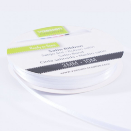 301002-0003 Vaessen Creative satijnlint dubbel 3mm - 10m wit