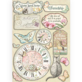 KLSP090 Stamperia Colored Wooden Shapes A5 Clock and Labels