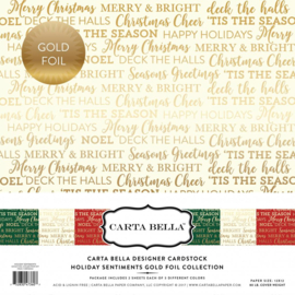 CBFHS004 Carta Bella Holiday Sentiments 12x12 Inch Gold Foil Collection