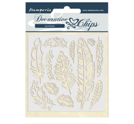 SCB40 Stamperia Decorative Chips Amazonia Feather