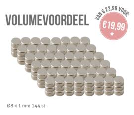 VOLUME 1617-121B Magneetjes Ø8x1mm - 144 stuks