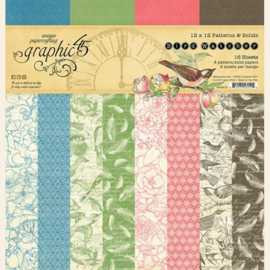 4502212 45 Graphic 45 Bird Watcher Time 12x12 Inch Patterns & Solids Paper Pad