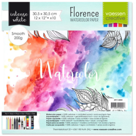 2911-6004 Florence • Watercolor paper smooth White 30,5x30,5cm 10pcs 200g