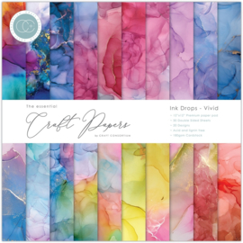 CCEPAD013 Craft Consortium Essential Craft Papers 12x12 Inch Paper Pad Ink Drops Vivid