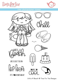T4T/184/Lif/Cle Time For Tea Life's A Beach Clear Stamps