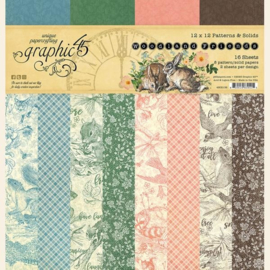 4502136 Graphic 45 Woodland Friends 12x12 Patterns & Solids Paper Pad
