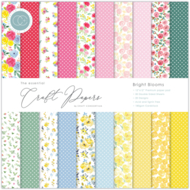 CCEPAD010 Craft Consortium Essential Craft Papers 12x12 Inch Paper Pad Bright Blooms