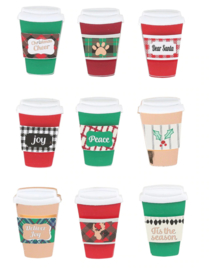 AC-0370 Stampers Journey Christmas Cheer Coffee Cup Chipboard Embellishments