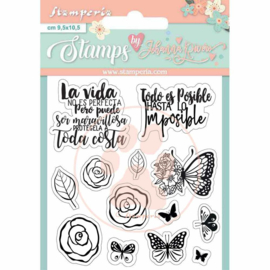 WTKJR34 Stamperia Circle of Love Roses and Butterfly Clear Stamps