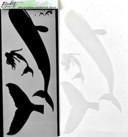 SC-226 Picket Fence Studios Slim Line Whales and Mermaid