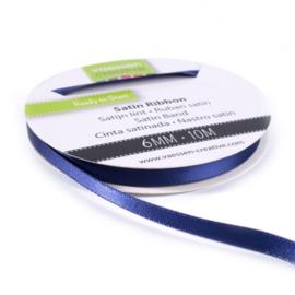 301002-1014 Vaessen Creative satijnlint dubbel 6mm - 10m donkerblauw