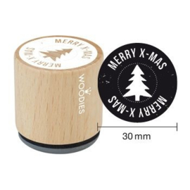 WE7003 Woodies Merry x-mas Rubber Stamp