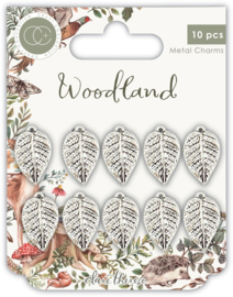 CCMCHRM019 Craft Consortium Woodland Metal Charms Silver leaf
