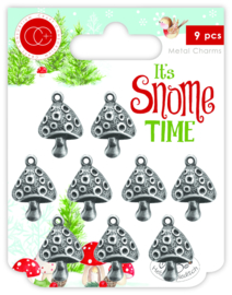 CCMCHRM008  It's Snome Time Metal Charms Toad Stools