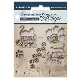 SCB26 Stamperia Decorative Chips Cats