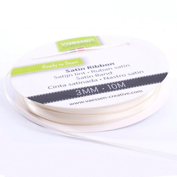 301002-0002 Vaessen Creative satijnlint dubbel 3mm - 10m antiek wit