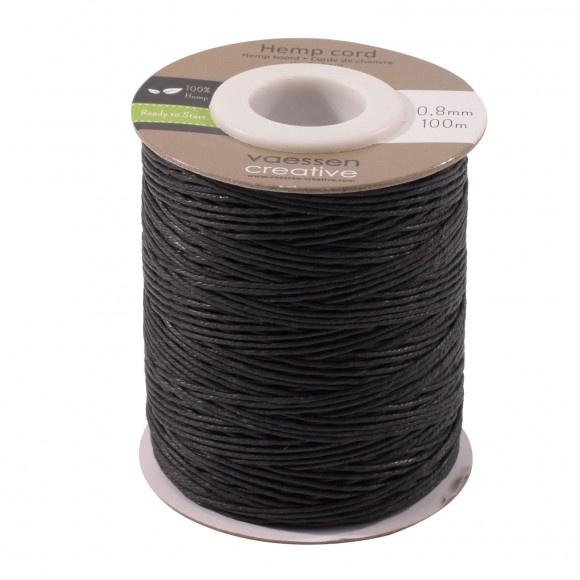3908-026 Hemp cord zwart 0,8mm x 100m