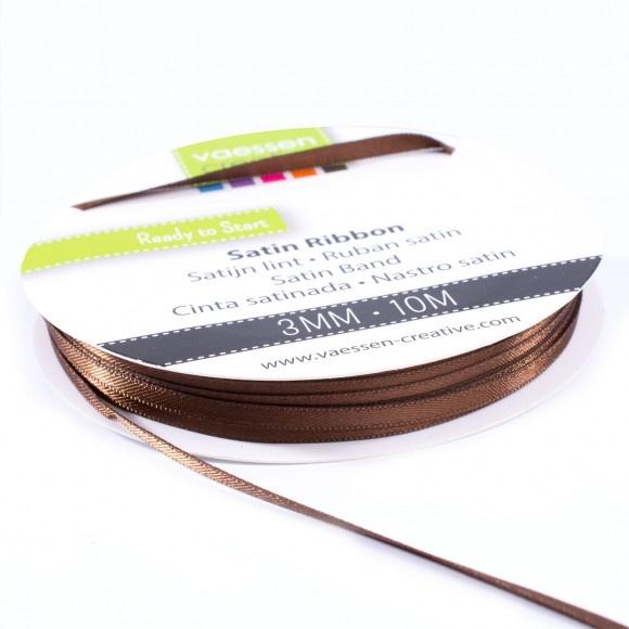 301002-0024 Vaessen Creative satijnlint dubbel 3mm - 10m bruin