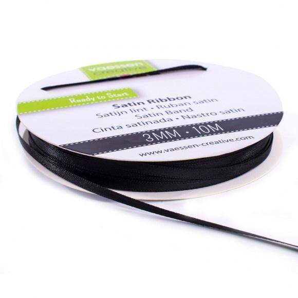 301002-0004 Vaessen Creative satijnlint dubbel 3mm - 10m zwart