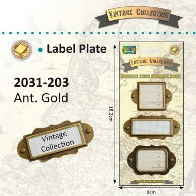 2031-203 Vintage Label plates 3 st. antique gold