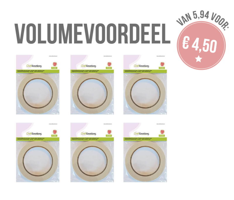 VOLUME - 6 x CraftEmotions  Papertape 6 mm x 20 mtr.