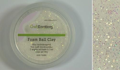 610115/0301 CraftEmotions Foamball clay - wit glitter