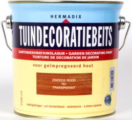 Hermadix Tuindecoratiebeits Transparant Zweeds Rood 761 2,5 liter