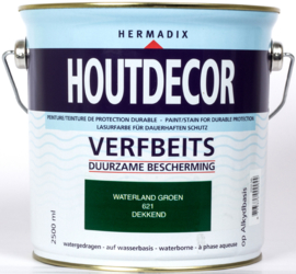 Hermadix Houtdecor Verfbeits Waterland Groen 621 2,5 liter