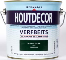 Hermadix Houtdecor Verfbeits Donker Groen 623 2,5 liter