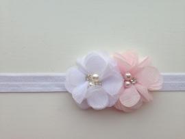 001 Haarband smal 2 bloemen