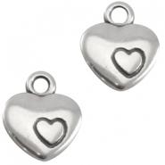 DQ metalen bedel hart met hartje