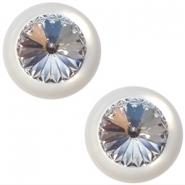 Slider zilver met cabochon shiny rivoli swarovski XXL bianco white crystal