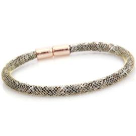 Armband met kristal facet goud-silver crystal