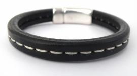 Heren armband van Regaliz leer zwart  met stiksel