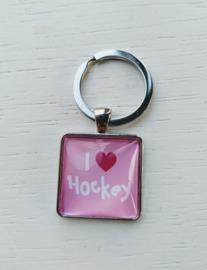 Sleutelhanger I love hockey roze