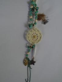Lange ketting gehaakte dromenvanger turquoise
