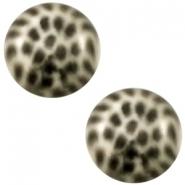 Slider zilver met cabochon leopard griege