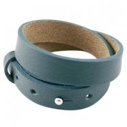 Cuoio armband dubbel petrol blue green