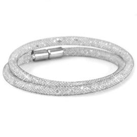 Armband dubbel met kristal facet silver