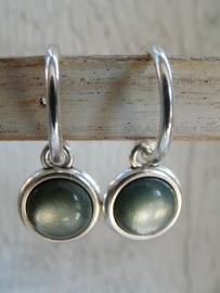 Oorbellen shiny green grey
