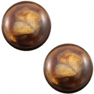 Slider zilver met cabochon horus shiny demitasse brown