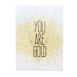 Post card you are gold+ stainless steel kettinkje zilver